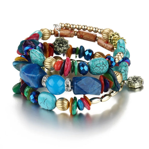 Bohemian Colorful Stone Long Bracelet Multilayer Rhinestone Bead Bracelet for Women Men