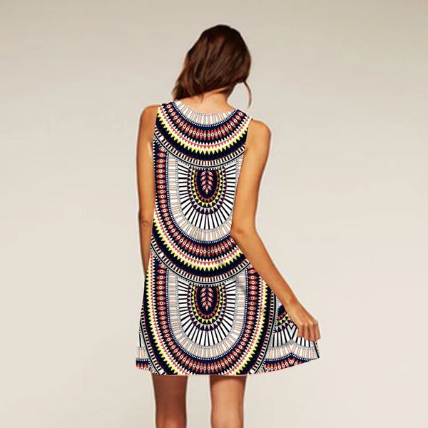 Retro pattern sleeveless Bohemia short dress fit for beach party