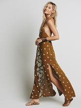 Load image into Gallery viewer, Bohemia Embroidered sequins elegant halter back dress long section