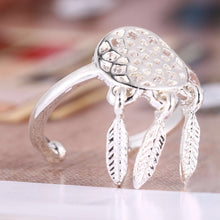 Load image into Gallery viewer, Dreamcatcher Hollow feather Adjustable alive gold and silver alloy ring