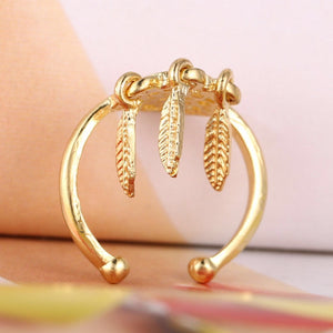 Dreamcatcher Hollow feather Adjustable alive gold and silver alloy ring