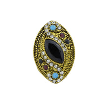 Load image into Gallery viewer, Jewelry Gold color rings with black blue red acrylic and white rhinestone geometric shape wedding rings