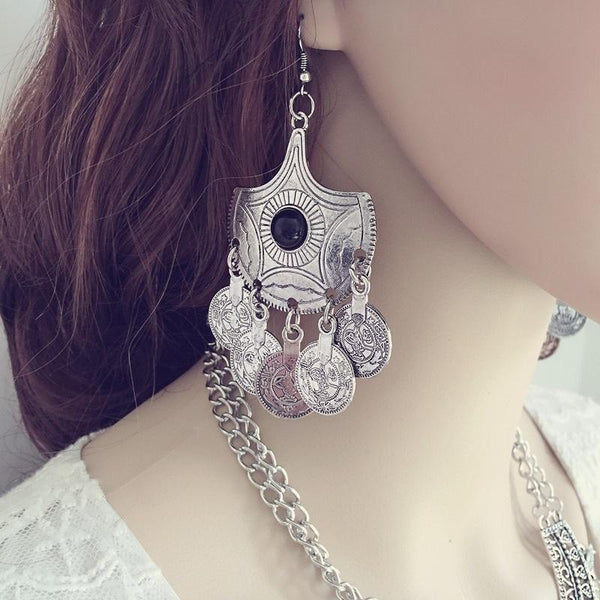 Boho Vintage Silver Gemstone Pendant Ancient Coin Earrings