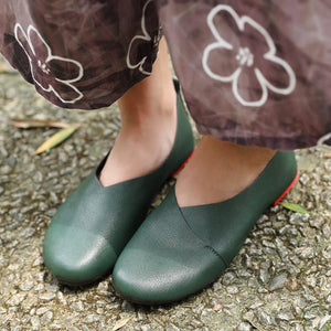 Fashion Genuine Leather Portable Green Single Shoes For Women
