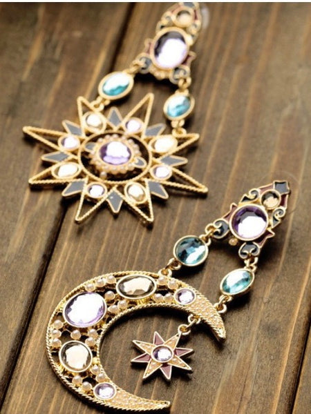1 pair Sun & Moon Earring Fashion fringed Bohemia Jewelry for Party