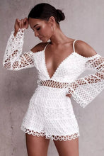 Load image into Gallery viewer, White Sexy Hollow V-neck Strap Lace Vacation Style Romantic Romper