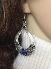 Load image into Gallery viewer, Ethnic Vintage Gem Stone Carved Large Circle Antique Silver Drop Dangle Earrings