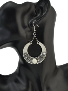 Ethnic Vintage Gem Stone Carved Large Circle Antique Silver Drop Dangle Earrings