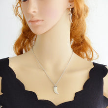 Load image into Gallery viewer, Crescent pendant necklace & Earrings set