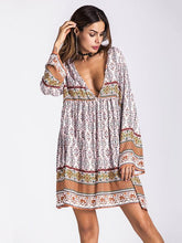 Load image into Gallery viewer, Bohemia Floral-printed V-neck Mini Dress