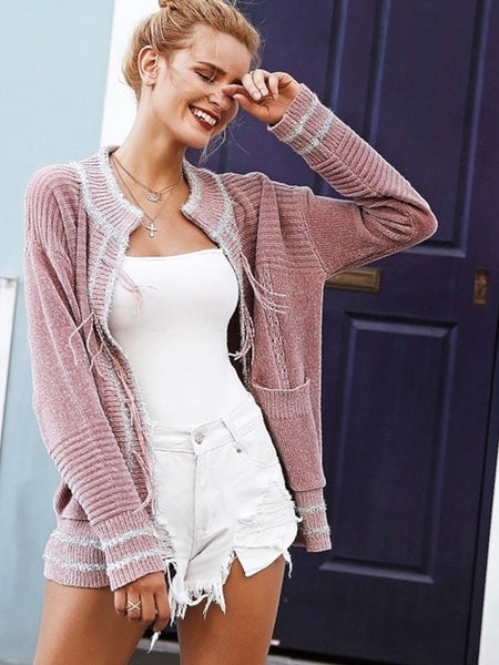 Loose Sweater Fashion Vintage Chenille Crew Neck Cardigan