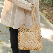 Load image into Gallery viewer, Casual Straw Knitted Khaki Handbag Shoulder Bag For Women