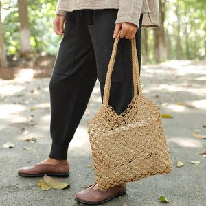 Casual Straw Knitted Khaki Handbag Shoulder Bag For Women