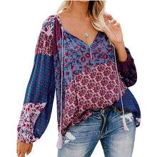 Load image into Gallery viewer, Women Autumn Blouse Floral Print Long Loose V-neck Pullover Drawstring Shirt