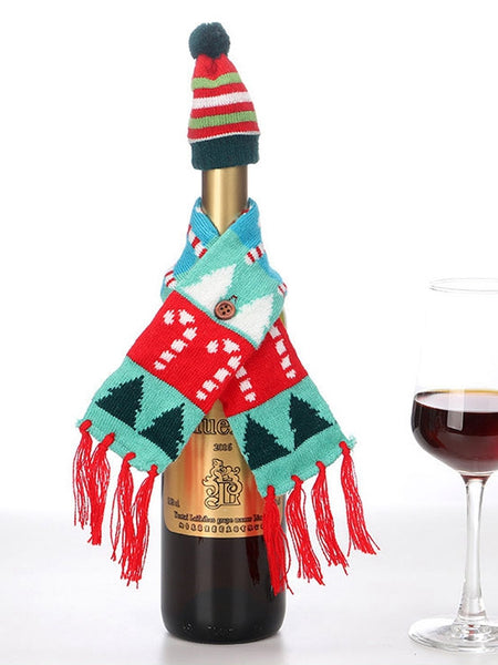 Christmas Knitted Scarf Hat Christmas Wine Bottle Set