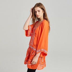 2018 New embroidery Bohemia Mini Dress