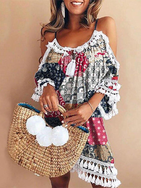 Elegant Dress Women Off Shoulder Dress Tassel Bohemia Printed Cocktail Party Beach Dresses