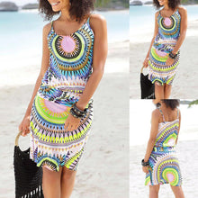 Load image into Gallery viewer, Women Summer Dress Sleeveless Psychedelic Printed Sundress Casual Beachwear Dress