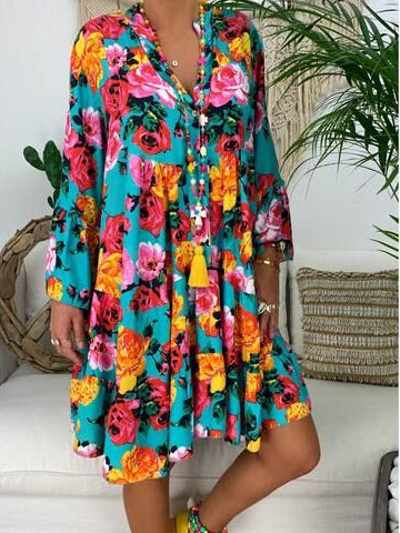 Printed Long Sleeved Midi Dress