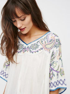 Popular Fashion Inwrought Floral-Print V Neck Half Sleeve T-Shirt Tops