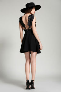 Summer Lace Angel Wings Sexy Backless Hollow Mini Evening Dress