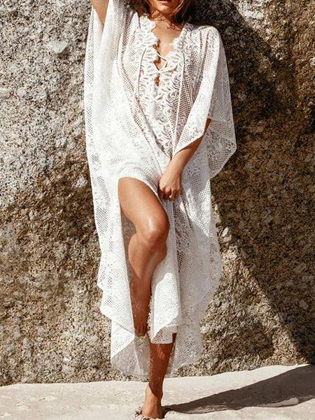 Lace White Split Front Long Bohemia Beach Dress