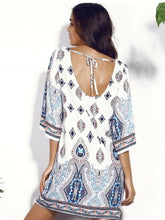 Load image into Gallery viewer, Bohemia Printed Backless Round-neck Mini Dress
