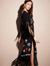 Load image into Gallery viewer, Pretty Sexy Inwrought Hollow V Neck Lace-Up Tassels Half Sleeve Midi Dress