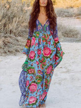Load image into Gallery viewer, Printed Floral Long Sleeve Maxi Dress Fashioned Bohemian Long Boho Dress