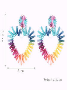 Geometric Coloured Lafite Handwoven Heart-shaped Earrings