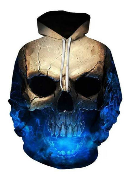 Autumn and winter new 3D Blu-ray skull print men's sweater fashion hooded long-sleeved  pullover sweater
