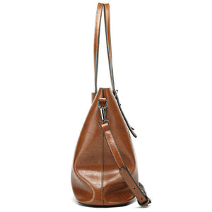 Vintage Oil PU Leather Tote Handbag Shoulder Bag Capacity Big Shopping Tote Crossbody Bags For Women