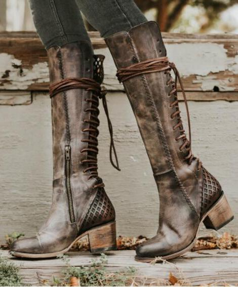 Boho Winter Low Heel Bandage Long Boots