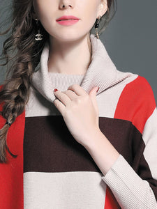 Casual Loose Plaid Turtleneck Women Sweaters