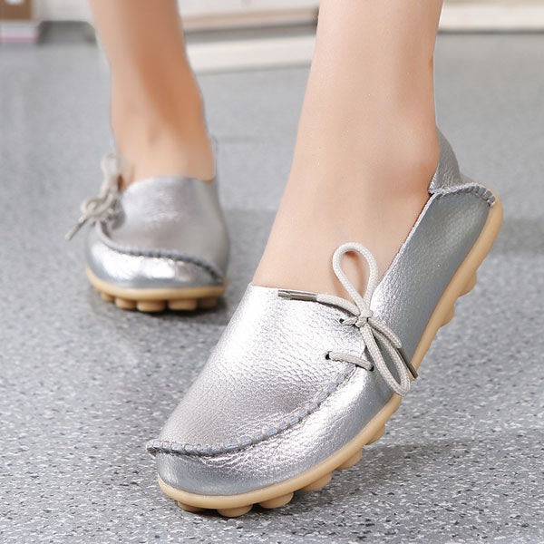 Big Size Shine Lace Up Flat Soft Pure Color Leather Shoes