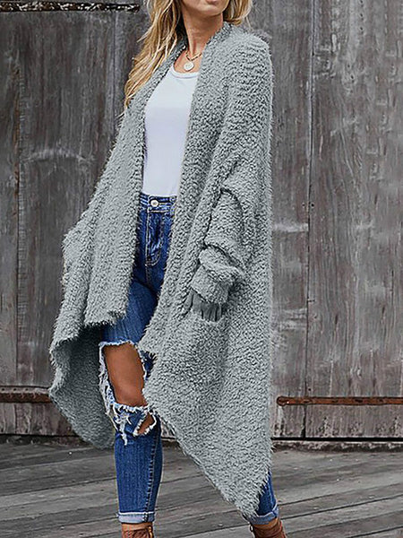 Women Casual Long Sleeve Irregular Hem Solid Pocket Cardigan Tops Blouse Coat Sweater Knitted Female Cardigan Pull Femme
