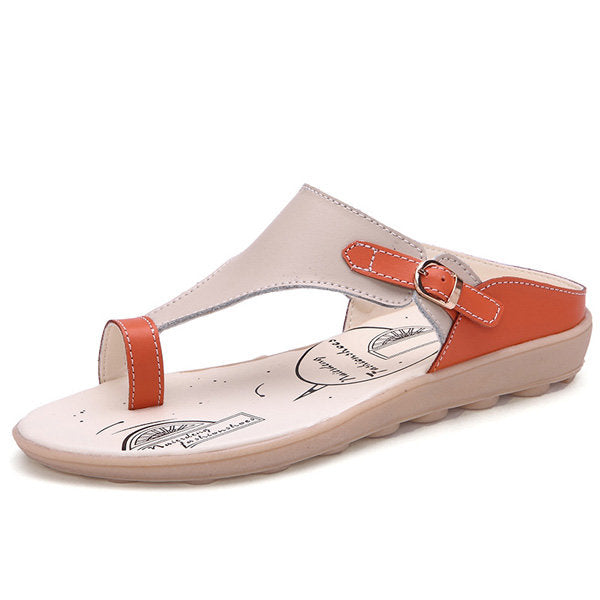 Soft Comfortable Clip Toe Buckle Color Match Leather Flat Casual Beach Open Heel Sandals