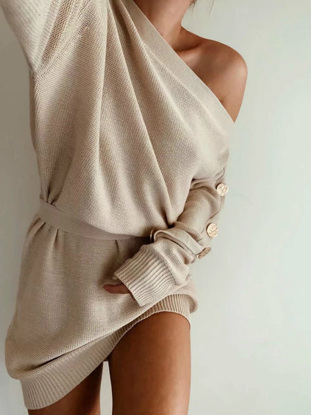 Lazy Style Sexy Shoulder Revealing Oblique Neck Knitted Sweater Mini Dress