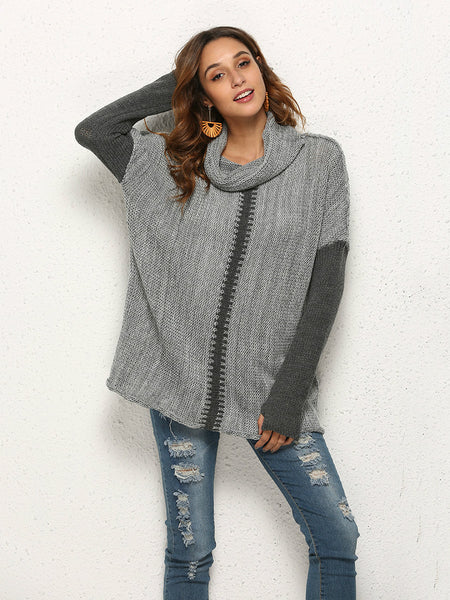 Long-sleeved sweater in large size for women's turtleneck sweater