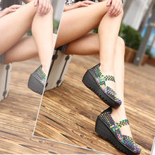Load image into Gallery viewer, Color Match Elastic Belt Knitting Swing Slip On Platform Sport Sandals