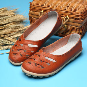 Hollow Out Leather Breathable Casual Slip On Moccasin For Women
