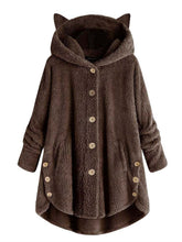 Load image into Gallery viewer, Hooded Decorative Buttons Plain Coat