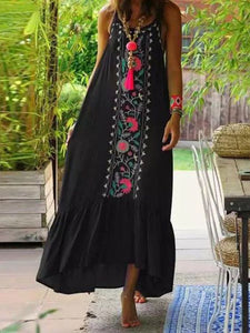 Retro Embroidered Bohemian Dresses with Large Suspenders Dress