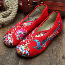 Load image into Gallery viewer, Phoenix Embroidered Old peking Vintage Flat Shoes