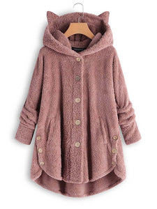 Hooded Decorative Buttons Plain Coat