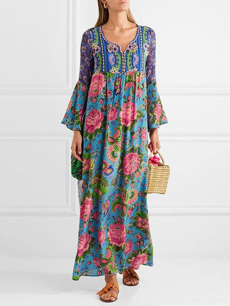 Printed Floral Long Sleeve Maxi Dress Fashioned Bohemian Long Boho Dress