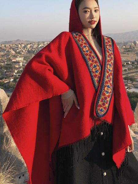 Folk Style Hooded Thick Warm Tibet Travel Scarf Shawl Cloak
