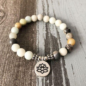 Men Women Lotus Buddha Yoga Charm Wrist Amazonite Beaded Wrist Boho Yoga Bracelets Jewelry