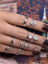 Load image into Gallery viewer, 10 Pcs Set Boho Vintage Cute Turtle Rings Bohemian Jewelry