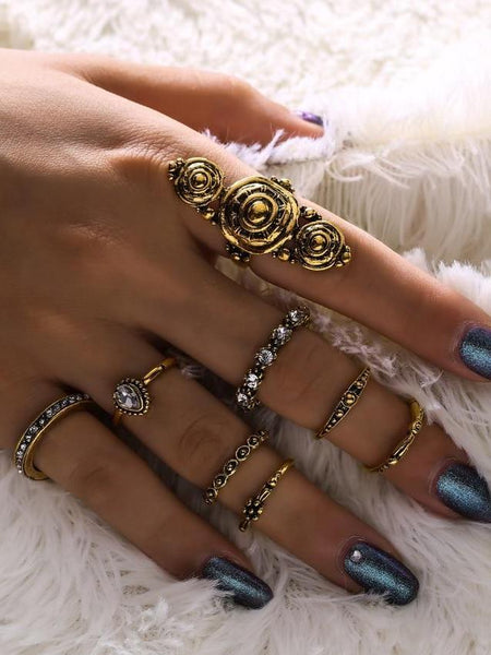Bohemia Vintage Jewelry Carving Tibetan Gold Color 8PCS Set Punk Boho Ring Sets